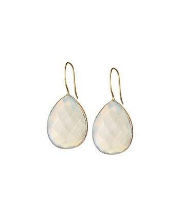 Rainbow Moonstone & Gold Drop Earrings