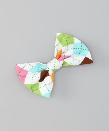 Pink & Green Argyle Snap Bow Tie