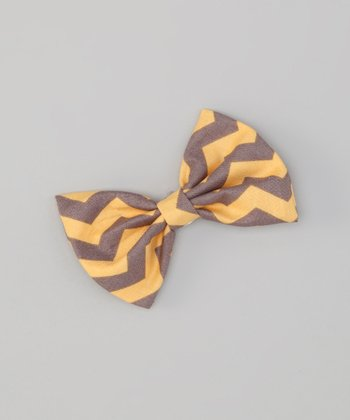 Yellow & Gray Zigzag Snap Bow Tie