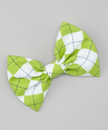 Green Argyle Snap Bow Tie