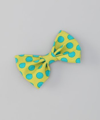 Green Polka Dot Snap Bow Tie