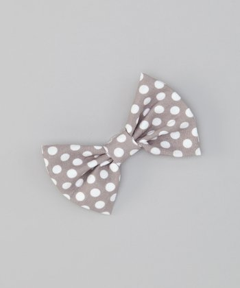 Gray Polka Dot Snap Bow Tie