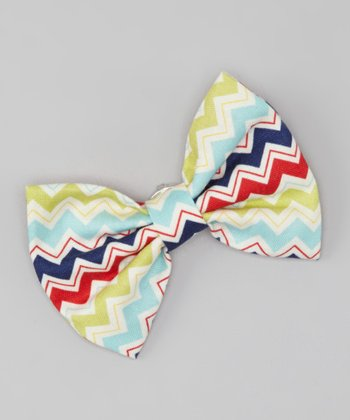 Green & Blue Zigzag Snap Bow Tie