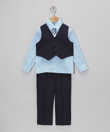 Navy & Light Blue Vest Set - Infant, Toddler & Boys