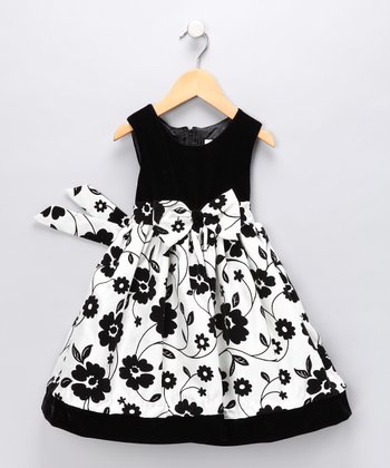 Black Floral Dress - Toddler