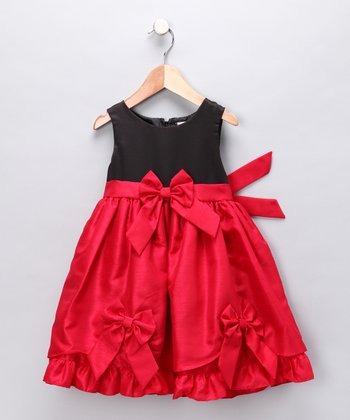 Red Bow Tie-Back Dress - Infant