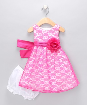 Pink Peony Lace Dress - Toddler