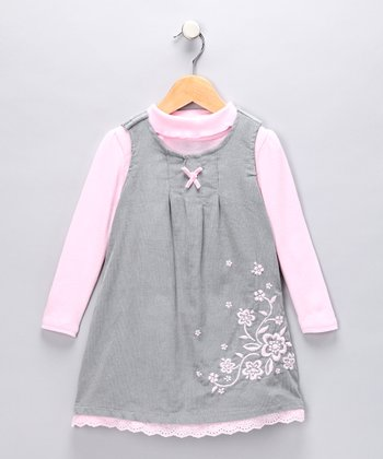 Pink Turtleneck & Gray Floral Jumper - Toddler