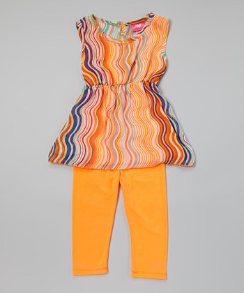 Neon Orange Chiffon Tunic & Leggings - Toddler & Girls