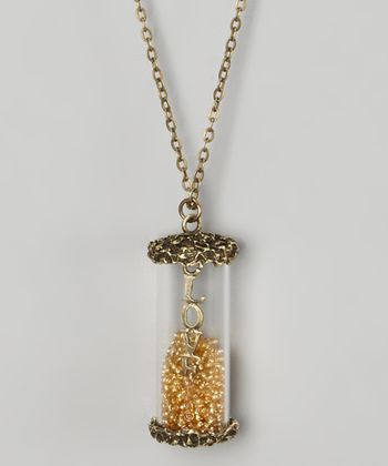 Gold 'Love' Vial Pendant Necklace