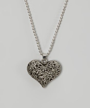 Silver Filigree Heart Pendant Necklace