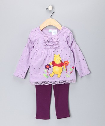 Purple Polka Dot Pooh Tunic & Leggings - Infant