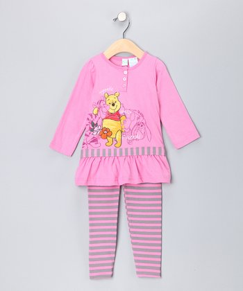 Pink Pooh Ruffle Tunic & Stripe Leggings - Toddler