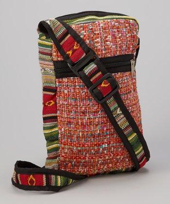 Orange Woven Crossbody Bag