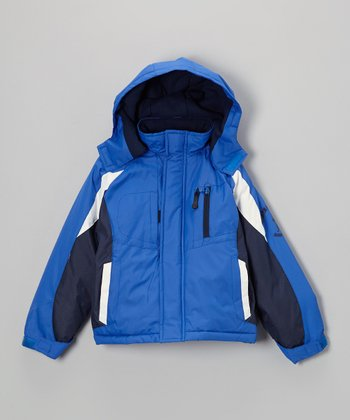 Blue & White Color Block Puffer Jacket - Toddler & Boys