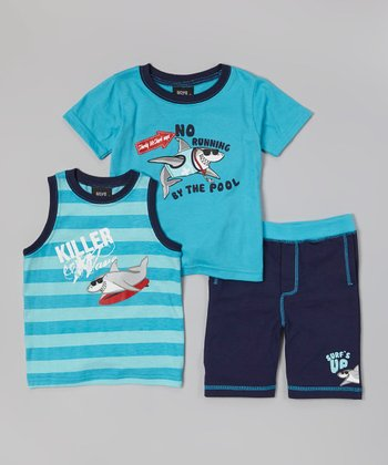 Blue Shark 'No Running By the Pool' Tee Set - Infant & Toddler
