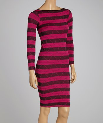 Fuchsia Stripe Shift Dress