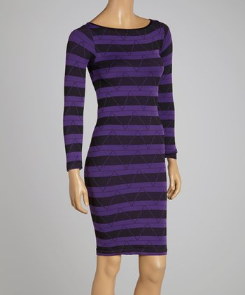 Purple Stripe Shift Dress