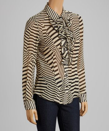Tan & Black Stripe Ruffle Top