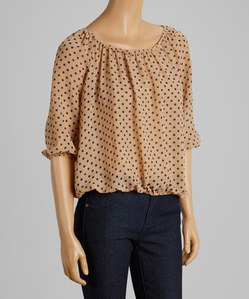 Tan & Black Polka Dot Ruched Top