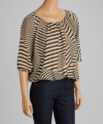 Taupe & Black Stripe Ruched Top