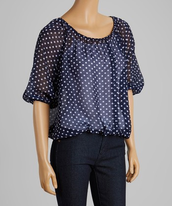 Navy & White Polka Dot Ruched Top