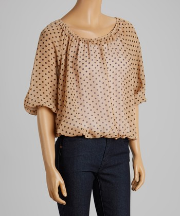 Dark Tan & Black Polka Dot Ruched Top