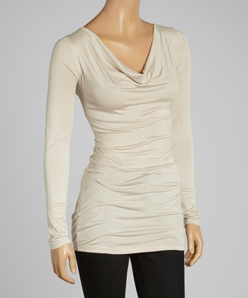 Taupe Drape Neck Tunic