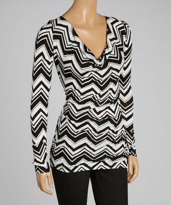 sun n moon Black & White Zigzag Drape Neck Tunic