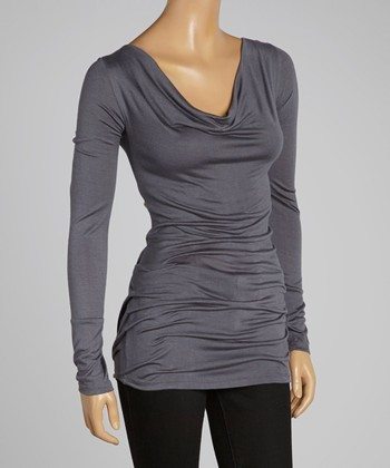 Gray Drape Neck Tunic