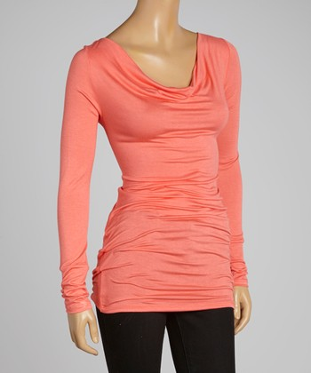 Coral Drape Neck Tunic