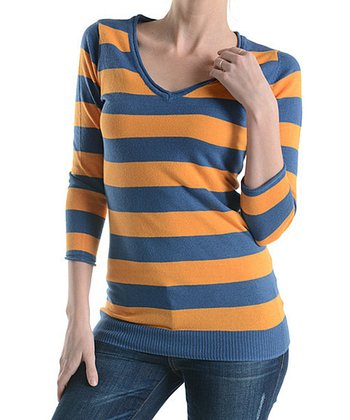 Blue & Orange Stripe Scoop Neck Top