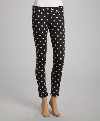 Black & White Polka Dot Skinny Pants