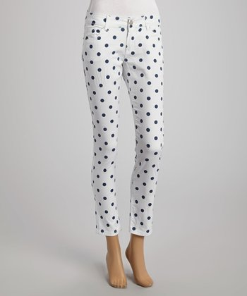 White & Navy Polka Dot Skinny Pants