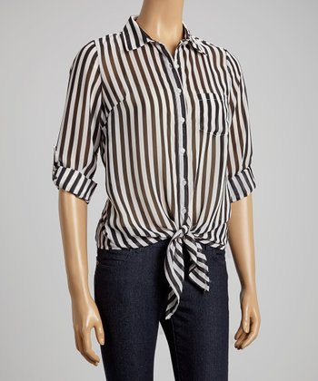 Black & White Stripe Sheer Button-Up