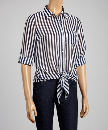 Navy & White Sheer Button-Up