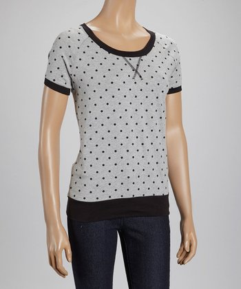 Heather Gray & Black Polka Dot Tee