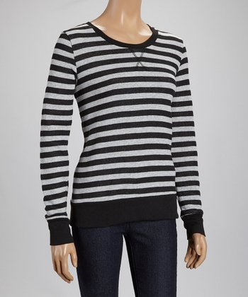 Black & Heather Gray Stripe Tee