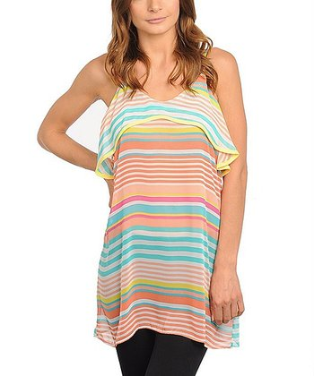 Orange & Teal Stripe Tiered Tank