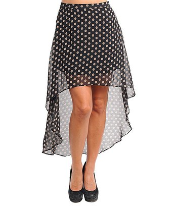 Black & Taupe Polka Dot Hi-Low Skirt