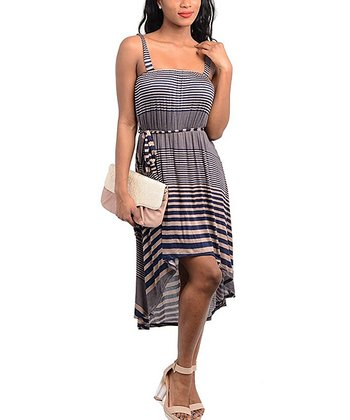 Tan & Navy Stripe Hi-Low Dress