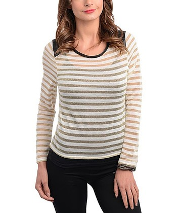 Ivory & Gold Stripe Panel Crewneck Top