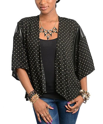 Black & White Polka Dot Open Cardigan