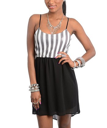 Black & White Stripe Hi-Low Dress