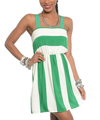 Ivory & Green Stripe Midi Dress