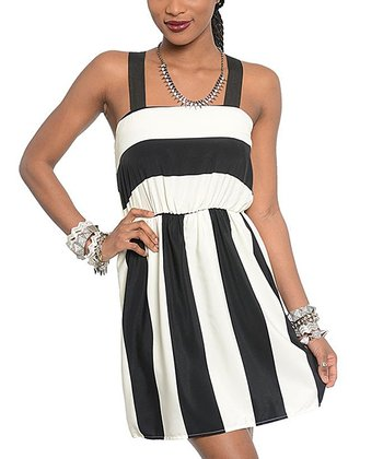 Ivory & Black Stripe Midi Dress