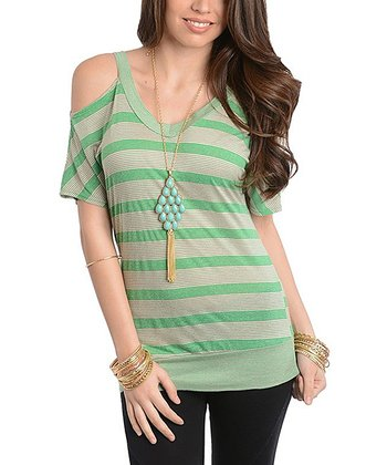 Green & Beige Stripe Cutout Top