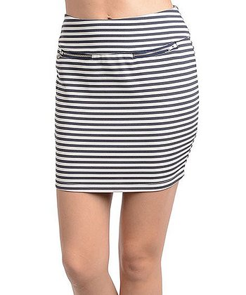 Navy & White Stripe Midi Skirt