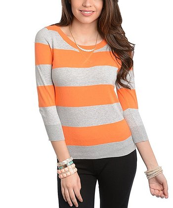 Gray & Orange Stripe Pullover
