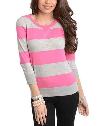 Gray & Pink Stripe Pullover